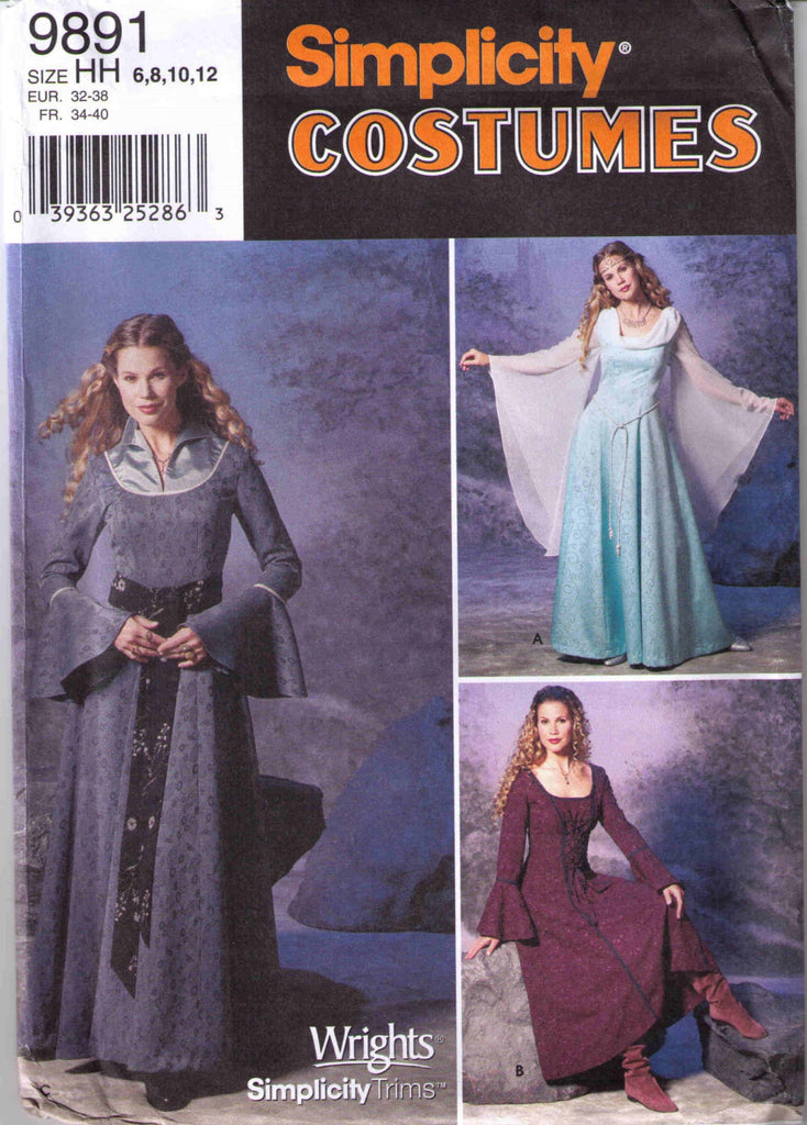 Medieval Renaissance Costume pattern Simplicity 9891 Adult sizes 6, 8, 10, 12 - Patterns - Craft Supply House