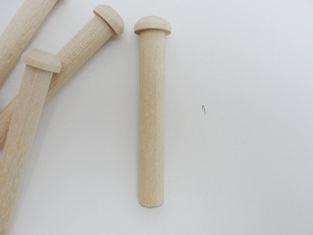 Large wooden peg, toy axle, unfinished DIY set of 6 - Wood parts - Craft Supply House