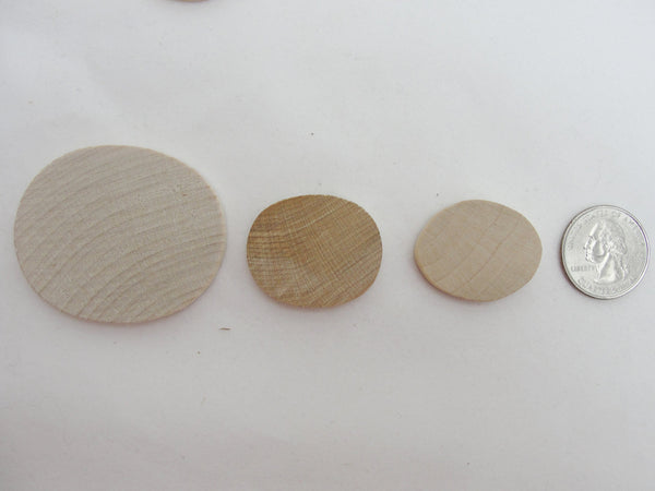 "Small oval wooden 1 1/4 inch x 1 inch (1 1/4"" x 1"") set of 12 - Wood parts - Craft Supply House"