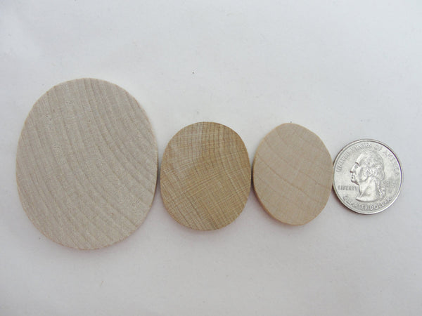 "Small oval wooden 1 1/4 inch x 1 inch (1 1/4"" x 1"") unfinished DIY set of 12 - Wood parts - Craft Supply House"