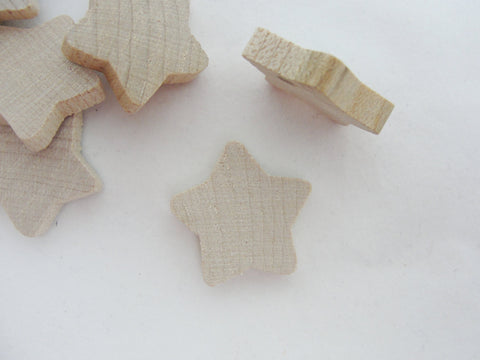 "Rounded wooden star 7/8 inch (7/8"") unfinished DIY set of 12 - Wood parts - Craft Supply House"