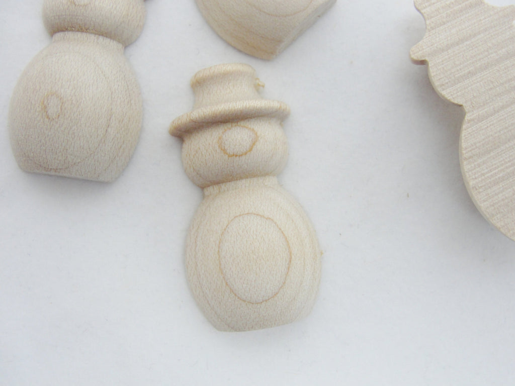 "Split miniature wooden Snowman 1 1/2"" tall set of 6 - Wood parts - Craft Supply House"