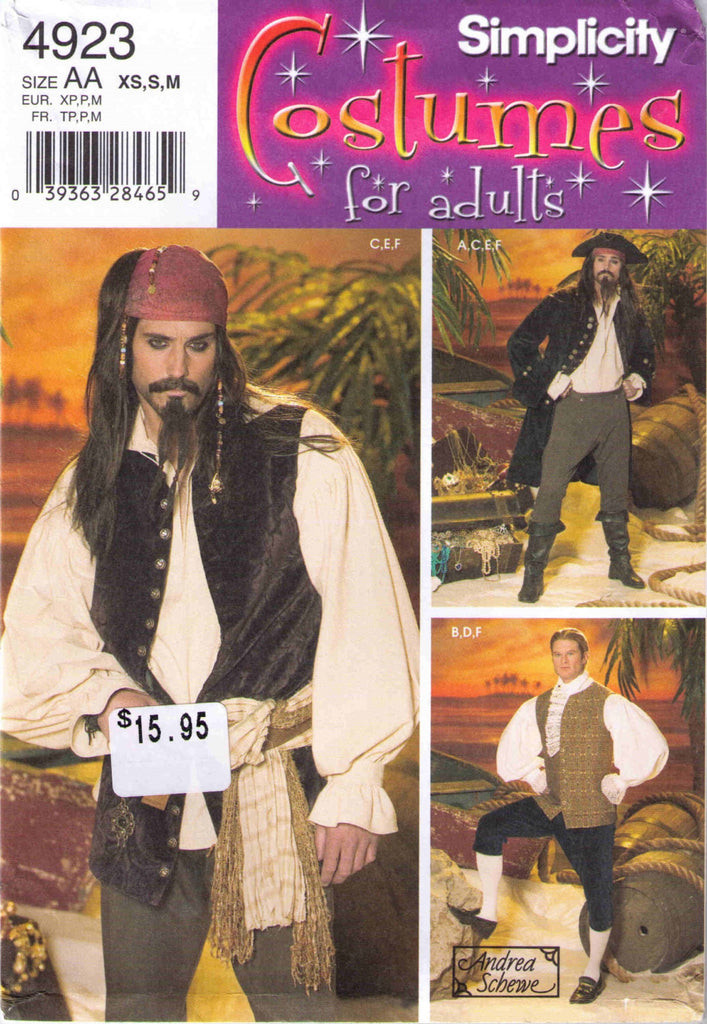 Medieval Renaissance Costume pattern Simplicity 4923 Adult Mens sizes XS, S, M - Patterns - Craft Supply House
