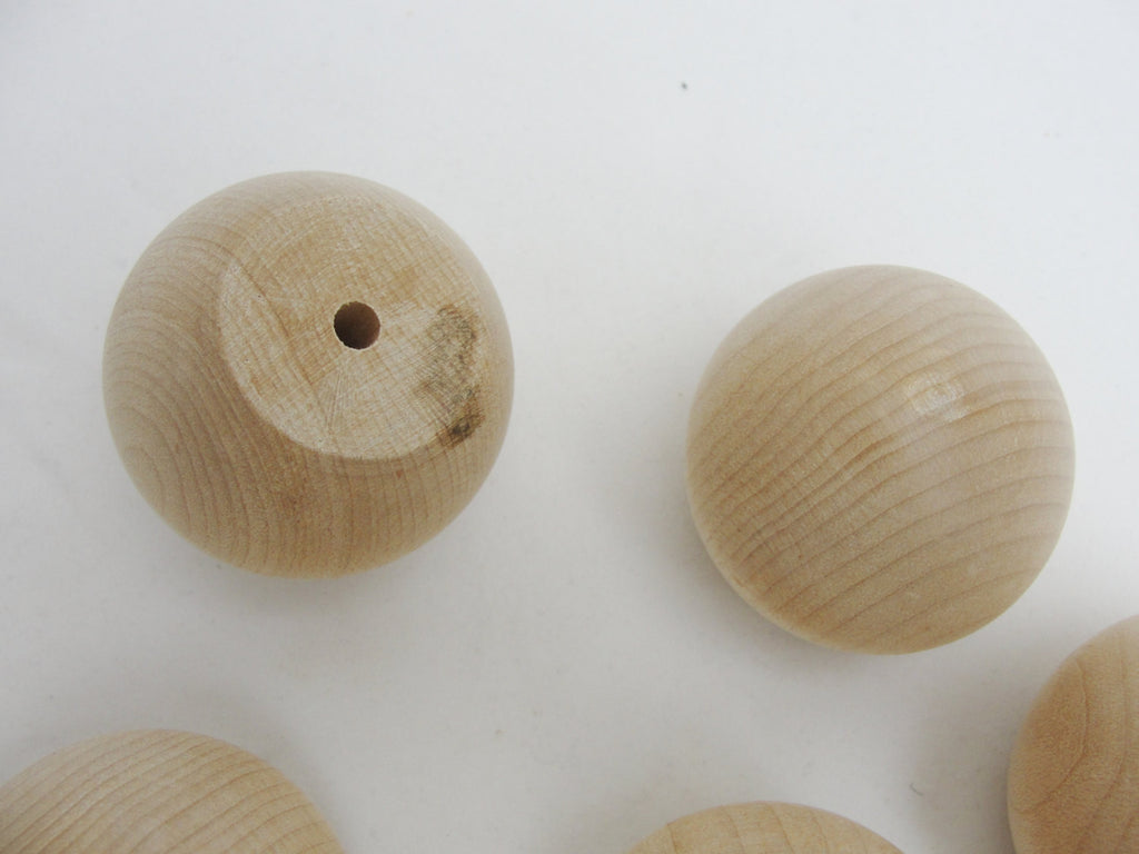 "Wooden ball knob 1.75"" (1 3/4"") solid wood set of 6"
