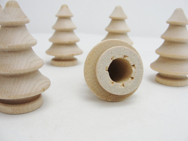 "Turned wooden 3 dimensional tree 2"" set of 6 - Wood parts - Craft Supply House"