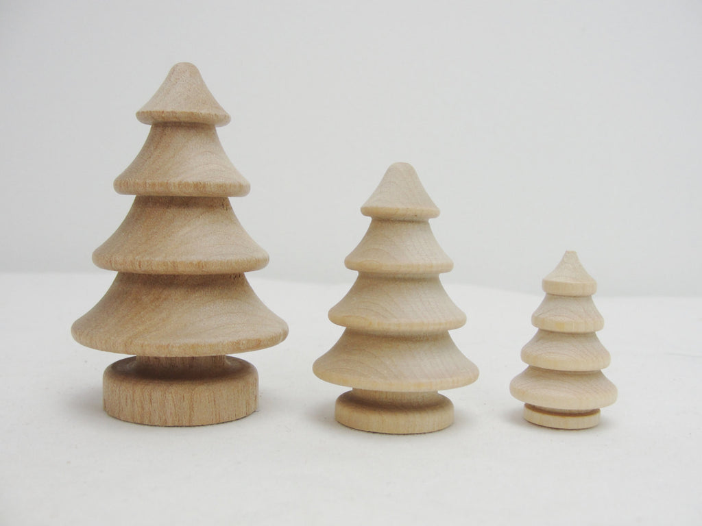 Wooden 3 dimensional turned trees 2 each of 3 sizes - Wood parts - Craft Supply House