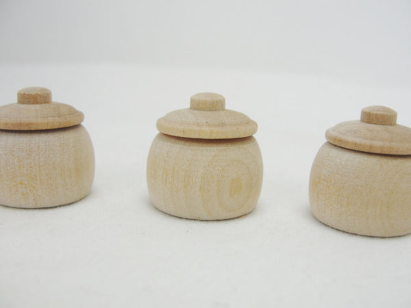 5 Miniature bean pots, miniature honey pots, dollhouse accessories - Wood parts - Craft Supply House