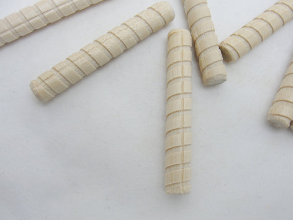 Spiral grooved dowel pin, little candy cane, set of 12 - Wood parts - Craft Supply House