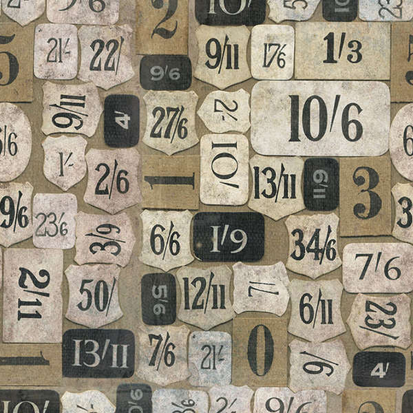 Tim Holtz Taupe Mercantile fabric yardage - Fabric - Craft Supply House