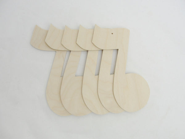 Large music note ornament set of 5 - Wood parts - Craft Supply House