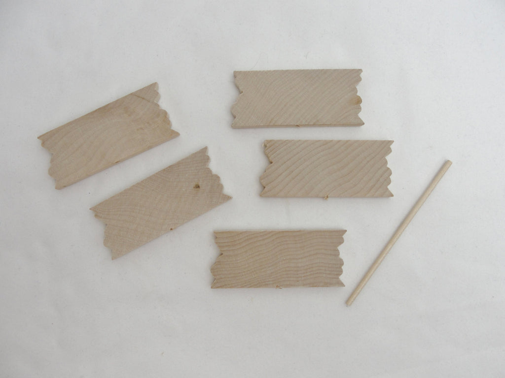 Small wooden sign plant stake set of 5 - Wood parts - Craft Supply House