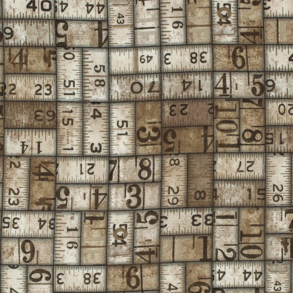 Tim Holtz Taupe Measurements fabric yardage, ruler fabric, grunge fabric, eclectic elements - Fabric - Craft Supply House