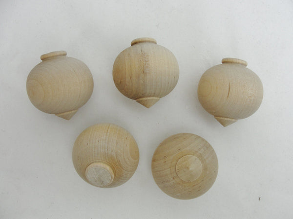 Small wooden turned ornament set of 5 - Wood parts - Craft Supply House