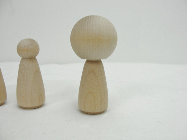 Wooden Kokeshi doll DIY set of 6 - Wood parts - Craft Supply House