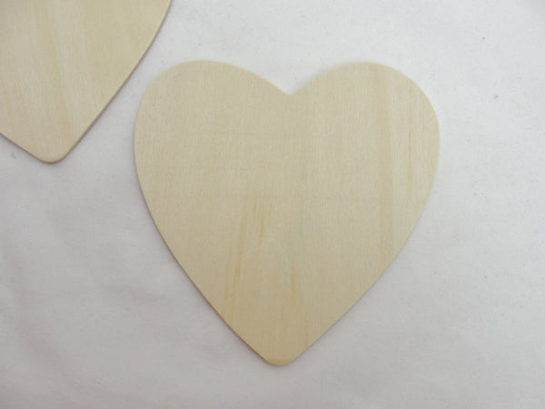 "5 Large wooden hearts , 4 1/2"" (4.5 inches) unfinished wood hearts - Wood parts - Craft Supply House"
