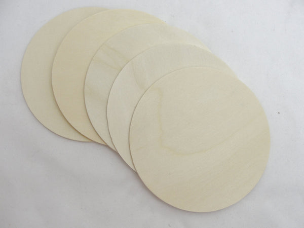 "Large Wooden 4 inch discs Circles 1/8"" thick set of 5 - Wood parts - Craft Supply House"