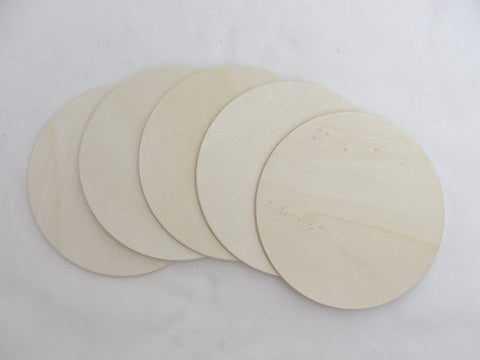 "5 Wooden Circle discs, wood disk 5"" x 1/8"" thick unfinished DIY - Wood parts - Craft Supply House"