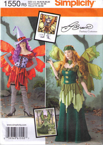 Adult Halloween costume pattern, Amy Brown fairy costume, Simplicity 1550 size 14-22 - Patterns - Craft Supply House