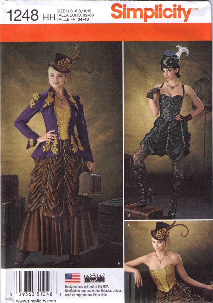 Steampunk costume pattern, Adult Halloween costume pattern, Simplicity 1248 size 6-12 - Patterns - Craft Supply House