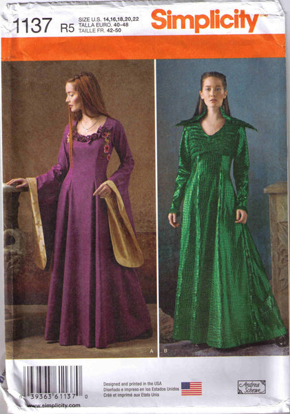 Medieval fantasy costume, Adult Halloween costume pattern, Simplicity 1137 size 14-22 - Patterns - Craft Supply House