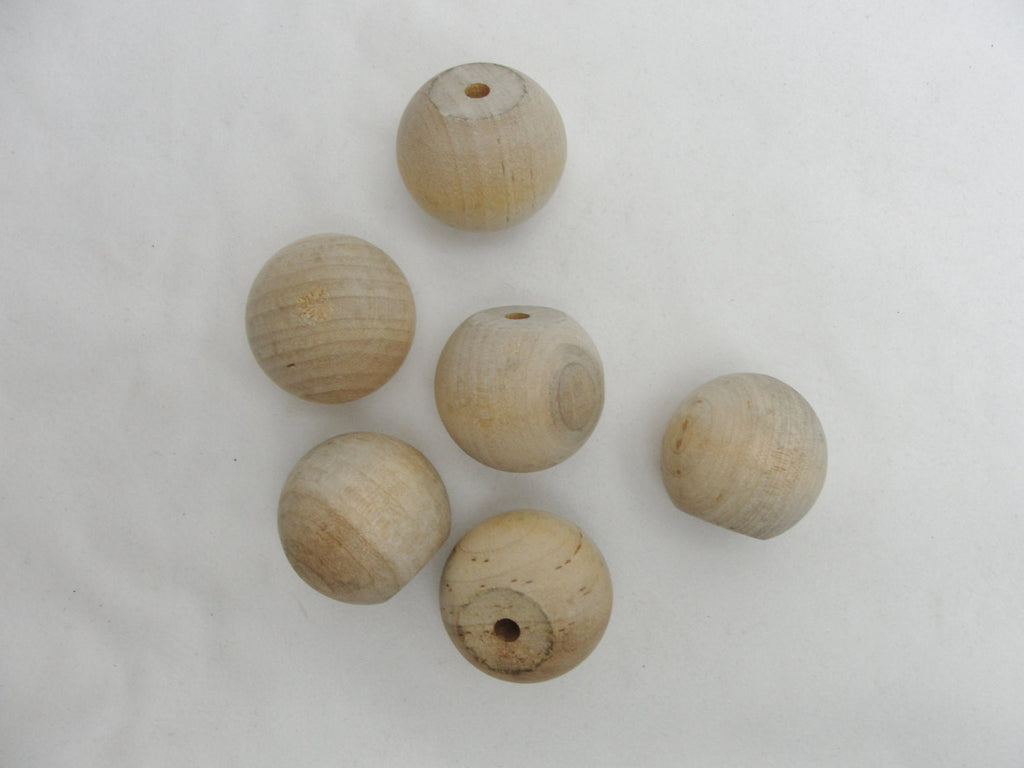 "Wooden ball knob 1.25"" (1 1/4"") solid wood set of 6 - Wood parts - Craft Supply House"