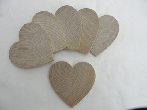 "6 Wooden hearts 3 inch (3"") wide 1/4"" thick - Wood parts - Craft Supply House"