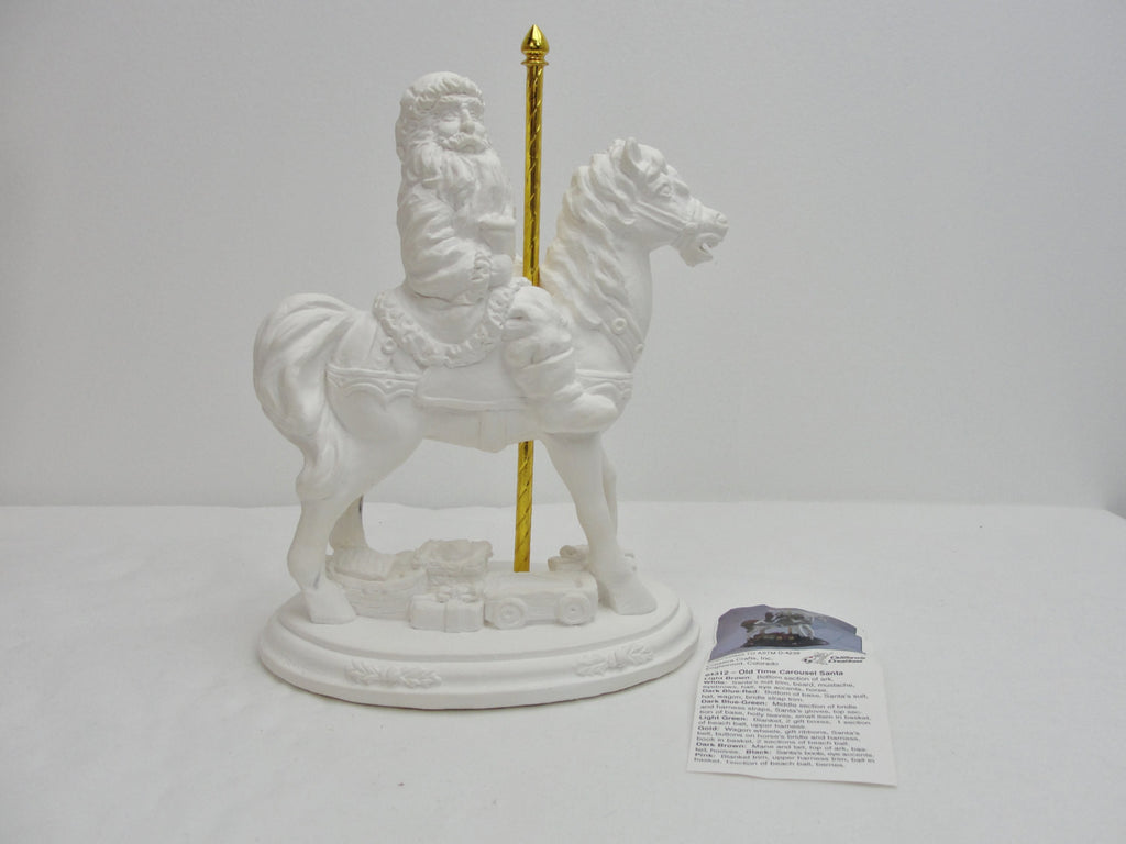 Ceramic santa DIY, paint your own Santa, Santa on carousel horse plastercast - General Crafts - Craft Supply House