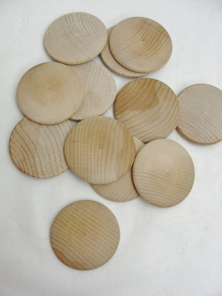 "Large Wooden domed disc 2 1/4"" wide x 5/16"" thick set of 12 - Wood parts - Craft Supply House"
