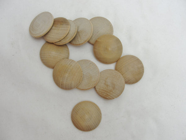 "Wooden domed disc 1 1/4"" wide x  5/16"" thick set of 12 - Wood parts - Craft Supply House"