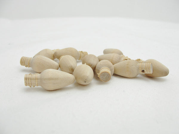 "Wooden 1"" Christmas light bulb with hole unfinished diy set of 12 - Wood parts - Craft Supply House"