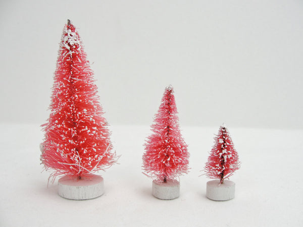 "Frosted Pink bottle brush sisal trees 1.25"" tall set of 3 - General Crafts - Craft Supply House"