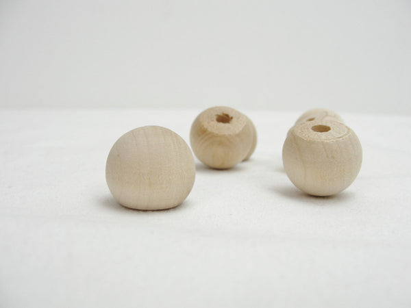 "Wooden ball knob 3/4"" (.75 inch ball knob) solid wood set of 6"
