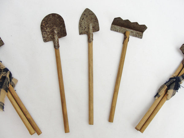 Miniature garden tools shovel and rakes 3 sets of 3 tools - General Crafts - Craft Supply House