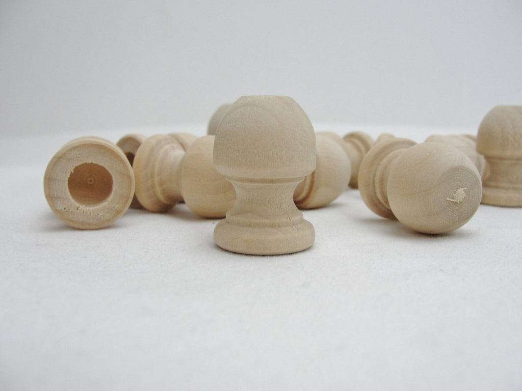 "Wooden end cap Finial 1 1/16"" tall, 3/4"" wide end cap set of 12"