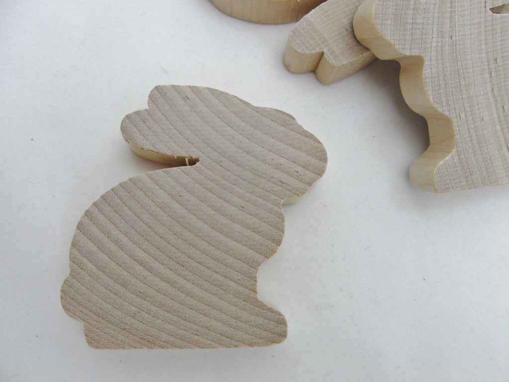 "Wooden bunny rabbit cutout 2 3/16"" tall diy set of 5"