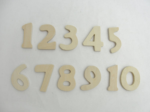 Wooden numbers 1 through 10, diy numbers 1 - 10, unfinished wooden numbers - Wood parts - Craft Supply House