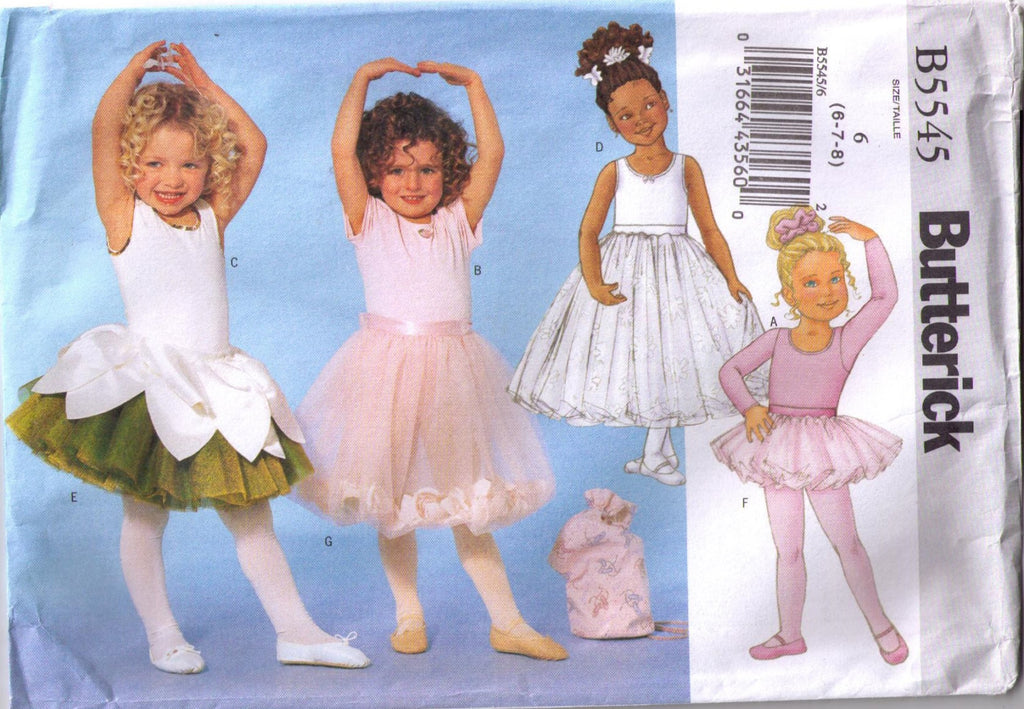 Girls leotard, skirt, bag and ponytail holder pattern Butterick 5545 size 6. 7, and 8 - Patterns - Craft Supply House