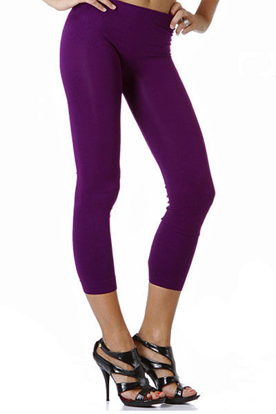 Purple Colorful One Size Basic Seamless Capris