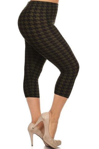 Olive Houndstooth Capris - Plus Size
