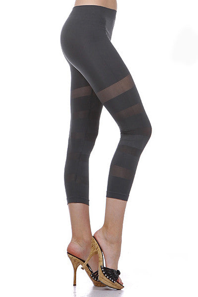 Ring Sheer Seamless Capri Leggings