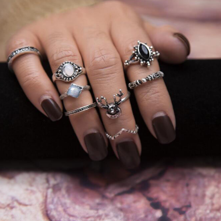 Woodland Witch 8-Piece Ring Set - ESMEBO