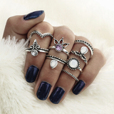 Dehli Nights 8-Piece Ring Set - ESMEBO