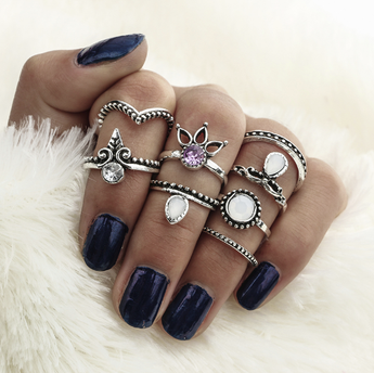 Dehli Nights 8-Piece Ring Set