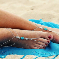 Beach Day Anklet Foot Chain with Turquoise Stone Adornment