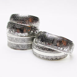 Stackable Pattern Silver Bangle - ESMEBO