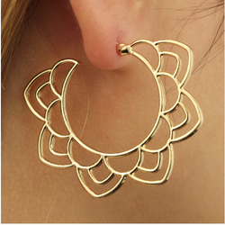 Sahasrara Lotus Hoop Earrings - ESMEBO