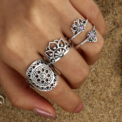 The Seventh Chakra 4-Piece Ring Set - ESMEBO