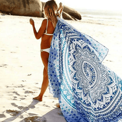 Round and Blue Mandala Flower Round Beach Blanket