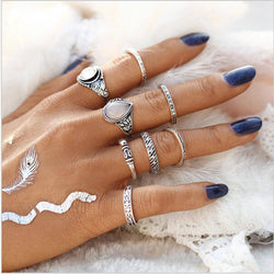 Moonstone Droplet 8-Piece Ring Set - ESMEBO