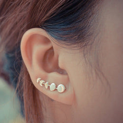 Moon Phase Earring, Ear Cuff Lunar Cycle Jewelry